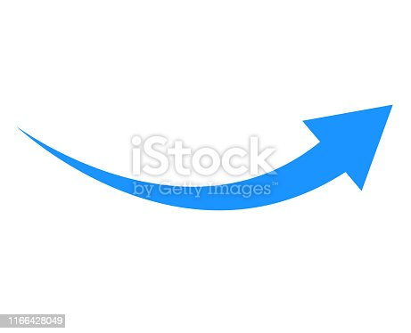 1144228424 istock photo blue arrow icon on white background. flat style. arrow icon for your web site design, logo, app, UI. arrow indicated the direction symbol. curved arrow sign. 1166428049