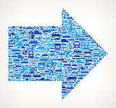 Blue Arrow on royalty free vector Transportation interface icon Pattern. The pattern features vector interface icons on white Background: car, truck airplane, motorcycle, bus, taxi, helicopter, ship, van, bicycle and other transportation vehicles. interface icons can be used separately for app icons and internet buttons. Icon download includes vector art and jpg file.