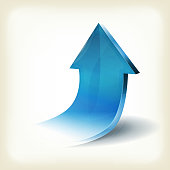 Illustration of a 3d blue arrow design, glossy and shining, rising and going up