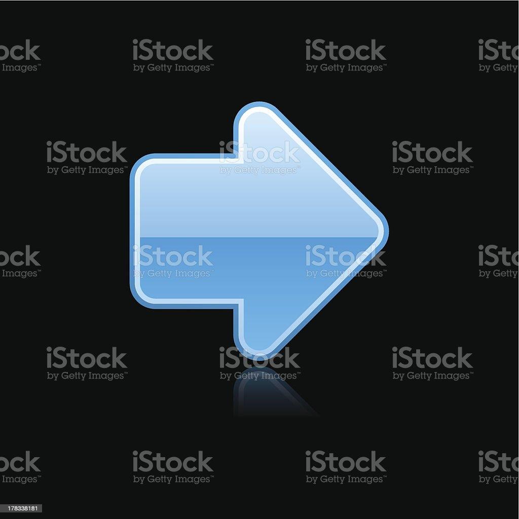 Blue arrow sign metal icon chrome pictogram web internet button royalty-free stock vector art