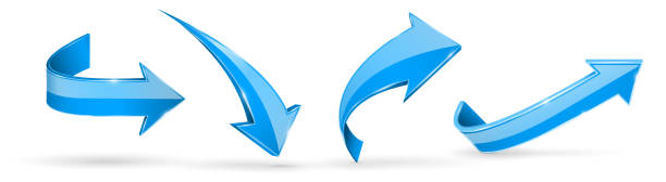 藍色箭頭。3d 網站圖示向量藝術插圖