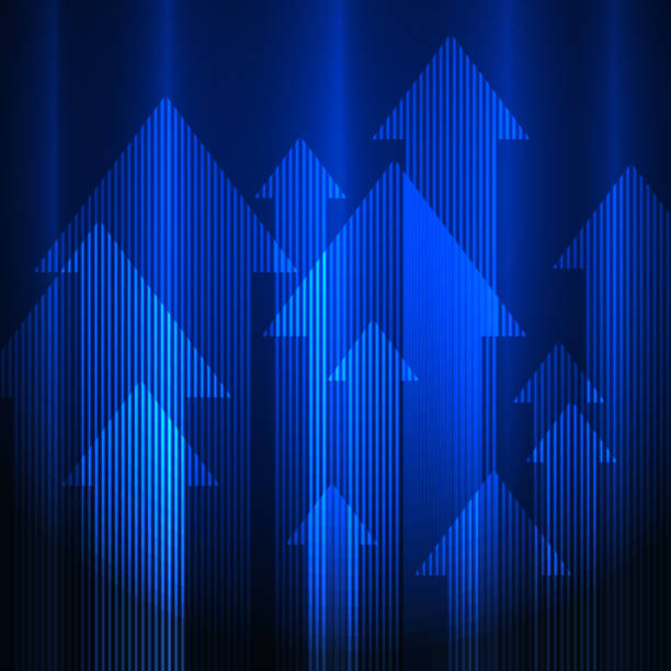 Blue arrows background vector art illustration