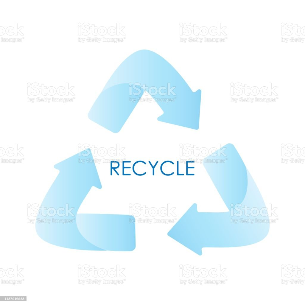 Blue arrows recycle eco symbol. Blue gradient. Recycled sign. Cycle...