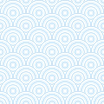 Blue art deco pastel fish scale background, water like pattern.