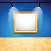 Blue art gallery with gold frame and copy space. EPS 10 file. Transparency used on highlight elements.