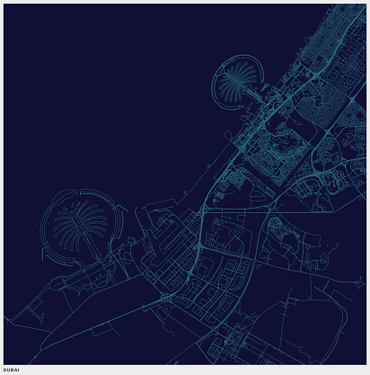 blue art illustration style dubai map