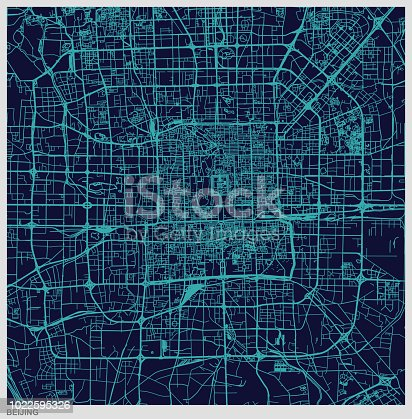 istock blue art illustration style map of Beijing 1022595326