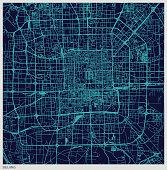 blue art illustration style map of Beijing
