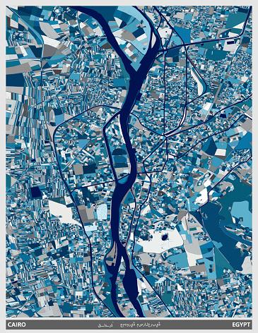 blue art illustration style map,Cairo city,Egypt