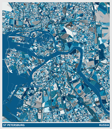 blue art illustration style map,St Petersburg city,Russia