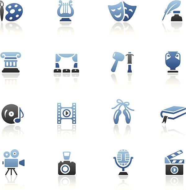 illustrations, cliparts, dessins animés et icônes de bleu ensemble d'icônes d'arts - camera sculpture