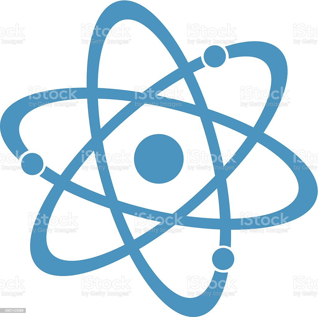 Blue Atom vector art illustration