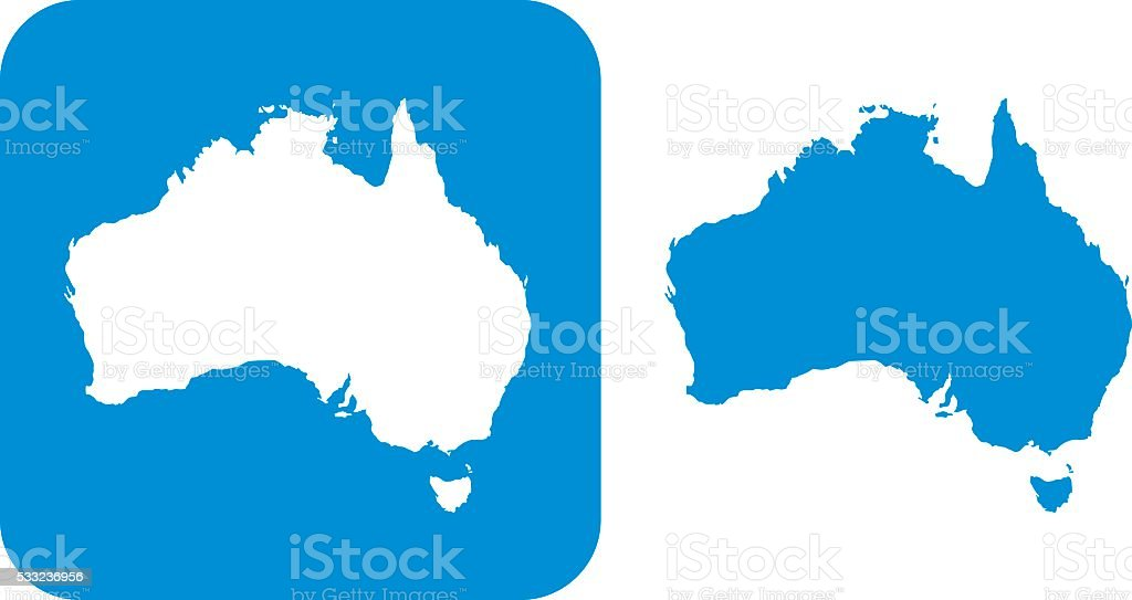 Blue Australia Icon vector art illustration