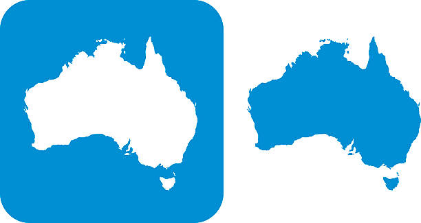 ilustraciones, imágenes clip art, dibujos animados e iconos de stock de icono azul australia - australia