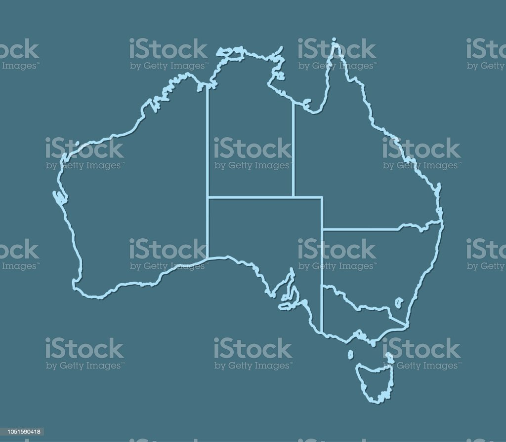 Show A Map Of Australia.A Blue Australian Map With Border Line On Dark Background To Show
