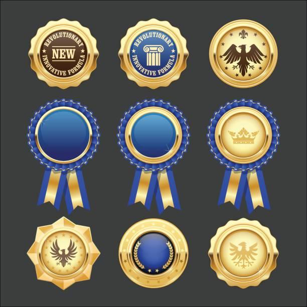 ilustrações de stock, clip art, desenhos animados e ícones de blue award rosettes, insignia and heraldic medals - porta retrato