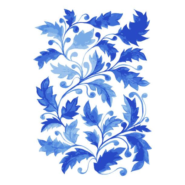 ilustrações de stock, clip art, desenhos animados e ícones de blue azulejo poster, vertical vector artwork with watercolor leaves, curls and foliage. - mosaicos flores