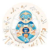 """Illustration of a baby boy robot lying on a pillow surrounded by tools and text """"We made a baby"""". Baby boy robot for a postcard. Baby boy robot for an announcement of a pregnancy. Newborn robot for a mascot."""
