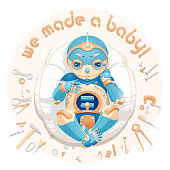 """Illustration of a baby boy robot lying on a pillow surrounded by tools and text """"We made a baby"""". Baby boy robot for a postcard. Baby boy robot for an announcement of a pregnancy. Newborn robot for a mascot"""