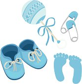 Blue baby boy shoes rattle daddy pins and footprints