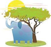 Childish cute elephant cartoon graphics for kids. Vector illustration.