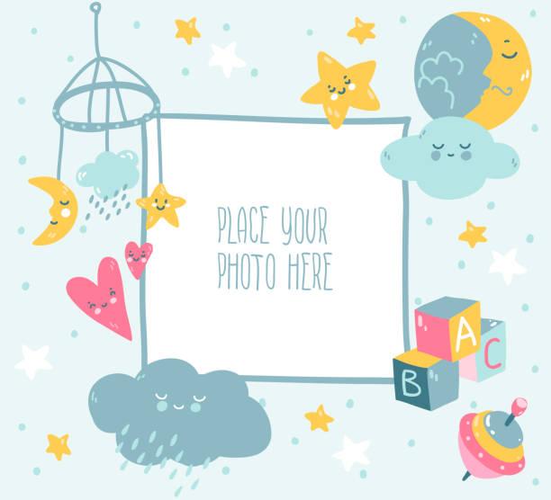 Cadre photo bleu de bébé avec le nuage, l'étoile, les jouets et les points. Style scandinave. - Illustration vectorielle