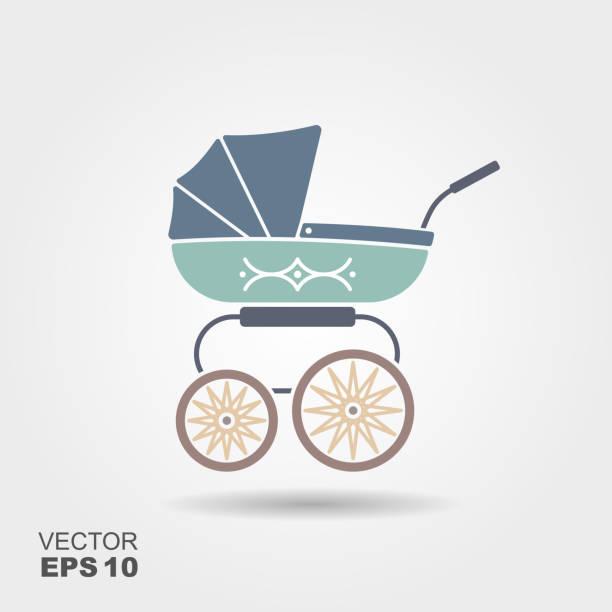 Blue baby pram icon Blue baby pram icon. Vector flat illustration baby carriage stock illustrations