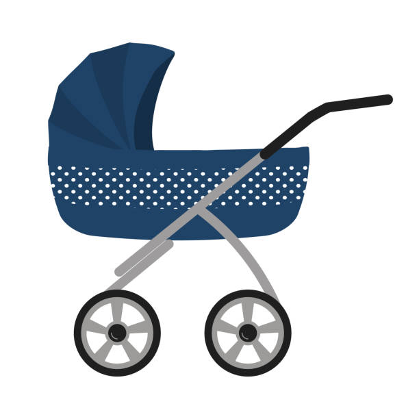 Blue baby stroller, isolated on a white background Blue baby stroller, isolated on a white background. Vector illustration. baby carriage stock illustrations