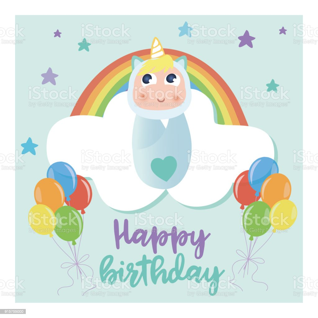 Blue Baby Unicorn Birthday Card Design Royalty Free