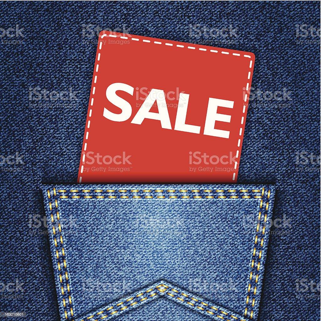 Blue back jeans pocket realistic denim texture with sale tag vector art illustration