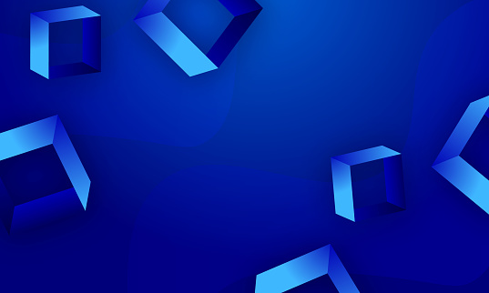 Blue Background abstract squares, geometric stock illustration