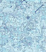 Blue background consisting of an artist's doodles