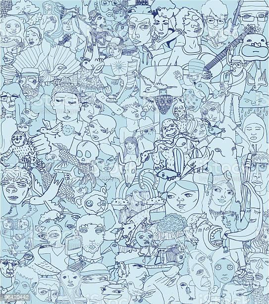 Ilustración de Conjunto De Garabatos Fondo y más Vectores Libres de Derechos de Arte