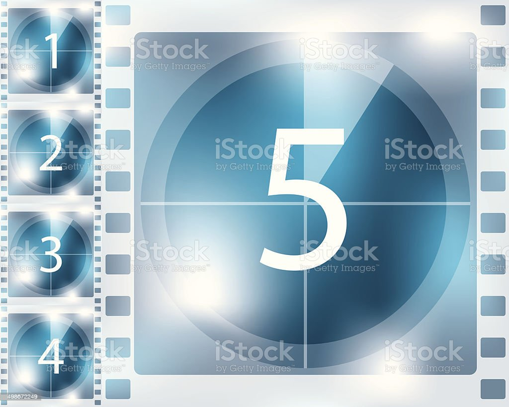 Blue background countdown design vector art illustration