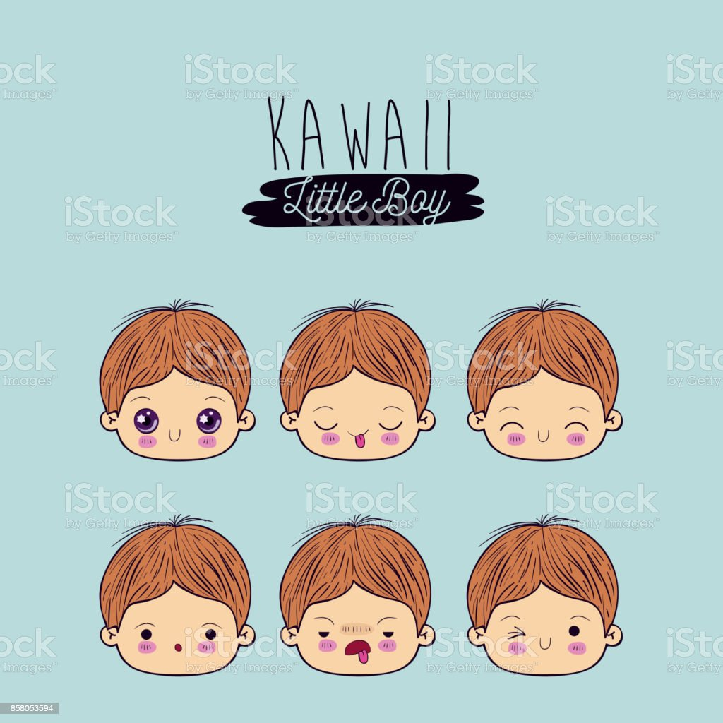 blue background set facial expression kawaii little boy stock vector