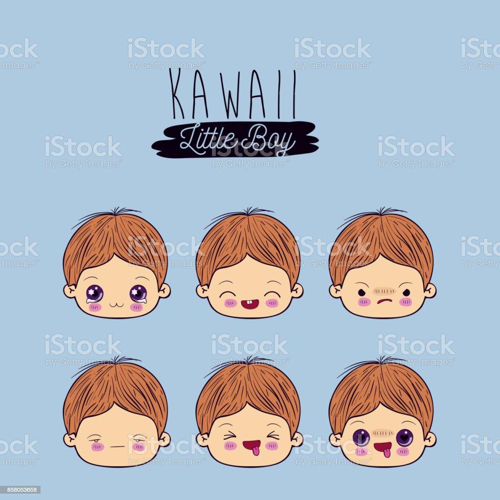 blue background set for six facial expression kawaii little boy vector art illustration