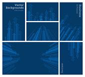 Dark Blue Business and Finance Concept Backgrounds Set.