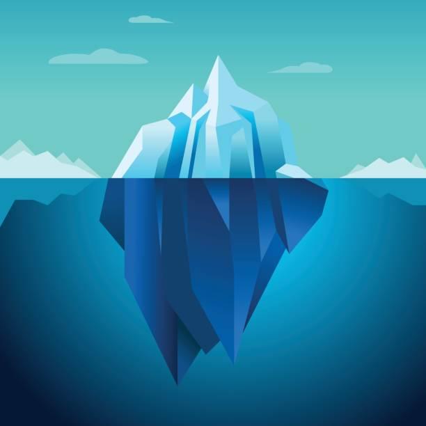 ilustrações de stock, clip art, desenhos animados e ícones de blue background vector iceberg - iceberg