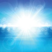 Vector illustration of the sun over the water. Summer background EPS10. transparency effect, gradient mesh.