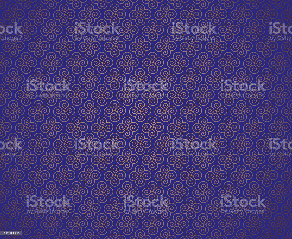 Blue background with a repeating gold swirl pattern royalty-free stock vector art
