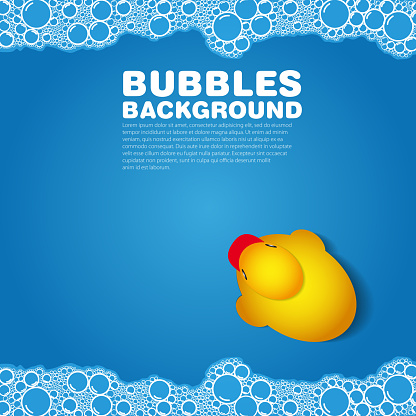 A blue background with bubbles and a rubber duck