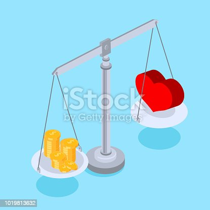 Blue background with comparison of love and money. Vector 3d illustration.