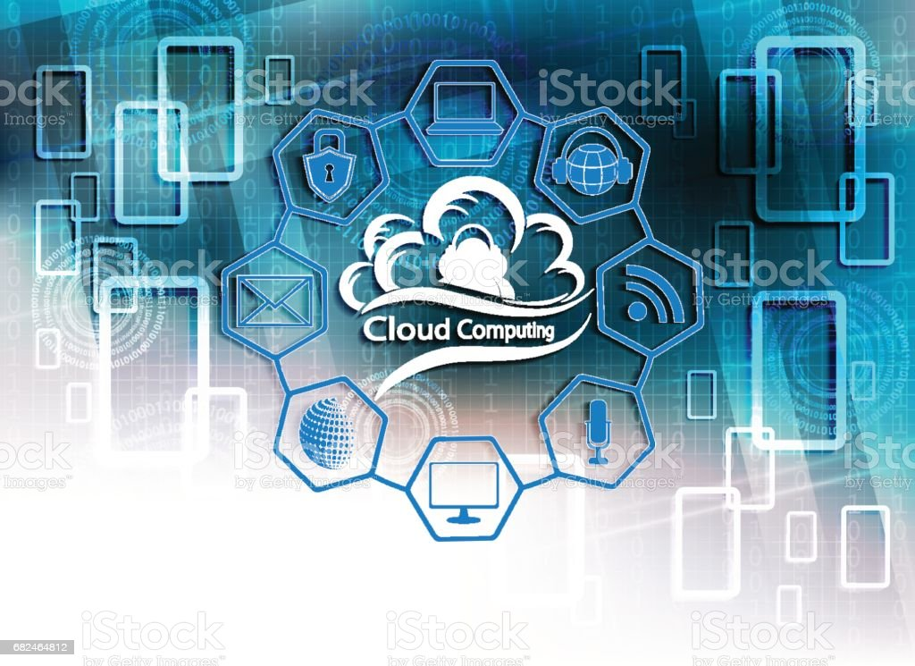 blue background with computer cloud royalty-free blue background with computer cloud stock vector art & more images of backgrounds
