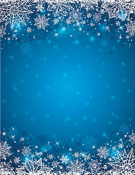 Blue background with  frame of snowflakes and stars,  vector vector art illustration
