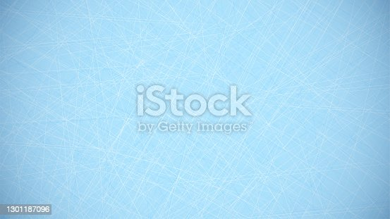 istock blue background with lines of scratches from hockey skates on ice. Hockey field covering. Background for sports competitions. Vector 1301187096