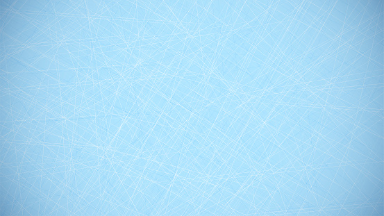blue background with lines of scratches from hockey skates on ice. Hockey field covering. Background for sports competitions. Vector