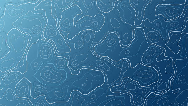 ilustrações de stock, clip art, desenhos animados e ícones de blue background with map contour. topographic vector wallpaper. - latitude