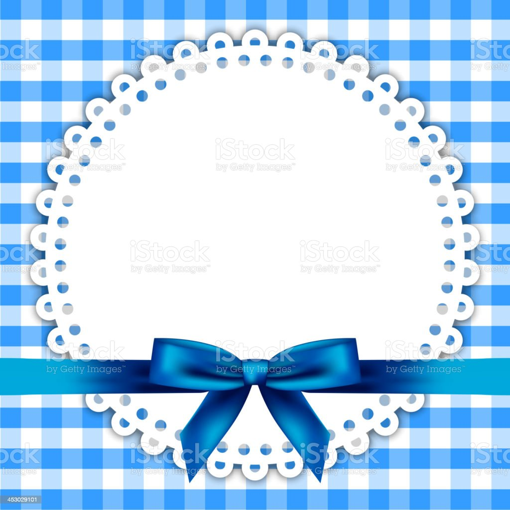 blue background with napkin and ribbon royalty-free stock vector art