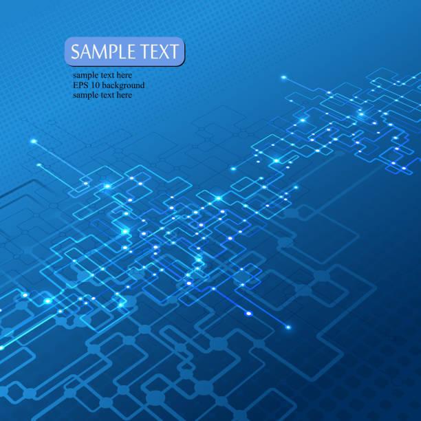 Fond bleu avec des éléments du réseau - Illustration vectorielle