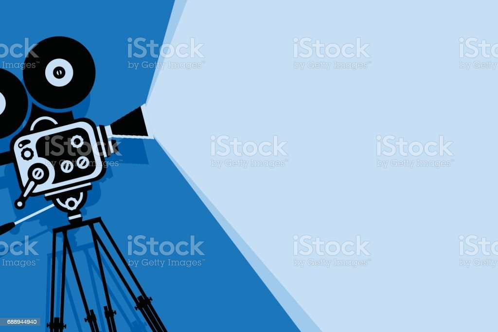 blue background with old fashioned movie camera royalty-free blue background with old fashioned movie camera stock illustration - download image now